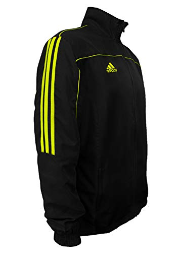 adidas Kampfsport Taekwondo 3-Streifen Light Trainingsanzug 100% Polyester Langarm Jacke, Herren, Schwarz / Neon Grün, Medium