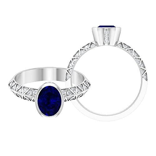Piedra de nacimiento de septiembre - Juego de bisel de 1,75 ct, anillo de compromiso de zafiro azul con acento moissanita (calidad AAA), 14K Oro blanco, zafiro azul, Size:EU 60
