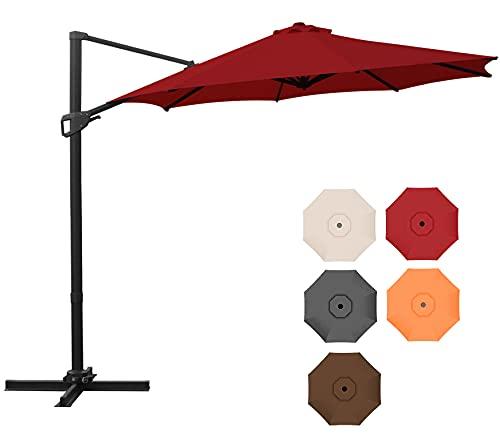 AXT SHADE Sombrilla Patio de 300CM para Exteriores,Parasol Resistente al Viento con Base Cruzada, 8 Varillas Resistentes para de terraza de Jardín, Piscina, Patio-Rojo