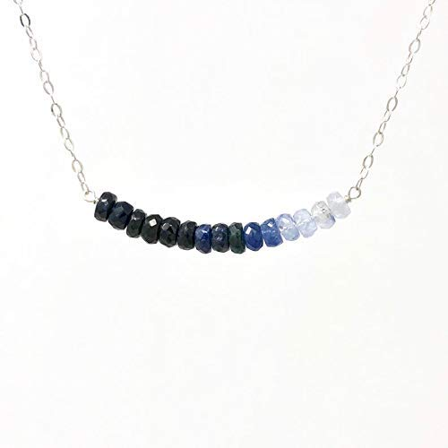 Beaded Necklace Silvery White Necklace Gemstone Jewelry White Sapphire Necklace