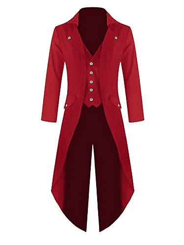 Mens Steampunk Victorian Jacket Gothic Tailcoat Costume Vintage Tuxedo Viking Renaissance Pirate Halloween Coats Red