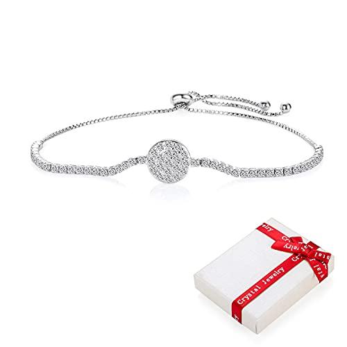 Pulsera con purpurina de plata 925 para niñas adolescentes mujeres dijes de circonita,pulsera felicidad brillante, ajustable tierna con dijes de amor pulseras regalos para novia cumpleaños de Navidad