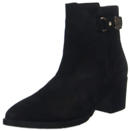 Tommy Hilfiger Damen TH Buckle MID Heel Boot Suede Stiefeletten, Schwarz (Black 990), 39 EU