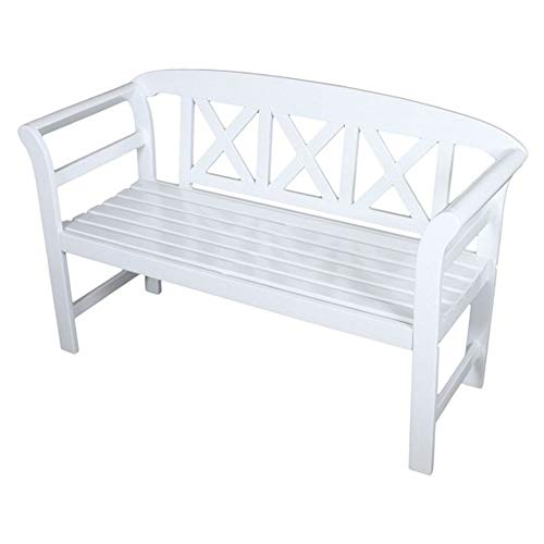H4L Gartenbank weiß 2 Sitzer Eukalyptus Holzbank FSC, L128xB50xH80 cm, Sitzbank Terrassenmöbel, Gartenmöbel
