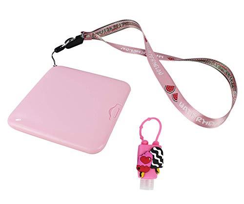 Kit Higiénico Estuche para Mascarillas, Estuche Mini Botella de Viaje Desinfectacte de Silicona de Colores Motivo y Color Aleatorio, Cordón para Guindar en el Cuello (Rosa)
