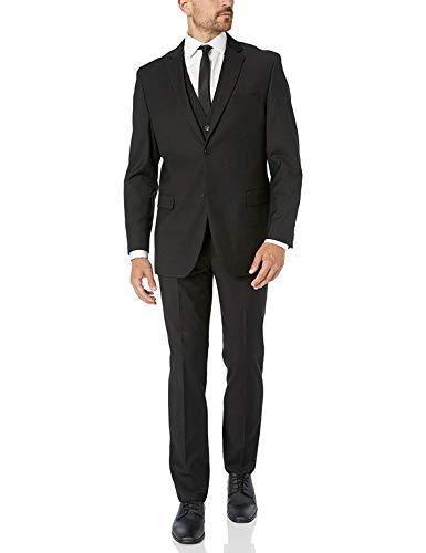 Adam Baker Black Classic Fit Vested Suit