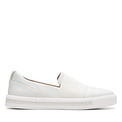 Clarks Damen Un Maui Step Slipper, Weiß White Leather, 39 EU