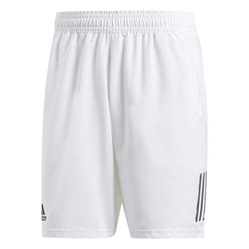 adidas mens Club 3-Stripes Regular Fit 9-Inch Quarter Length Tennis Club Shorts, White/Black, Large