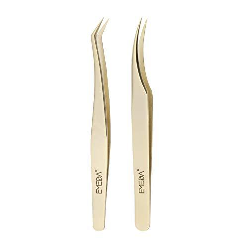 EMEDA Wimpern pinzette 2 Stück Wimpernpinzette für Wimpernverlängerung Professionelle goldene Präzisionspinzette Individuelles Wimpernpinzetten-Set 3D 5D 6D Volume Eyelash Extension tweezers