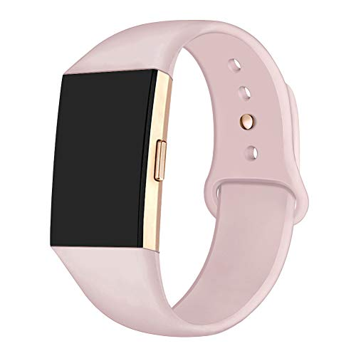 GHIJKL Sports Band Compatible Fitbit Charge 2, Soft Silicone Replacement Wristband for Fitbit Charge 2,Women Men, Small, Light Sand Pink with Rose Gold Button