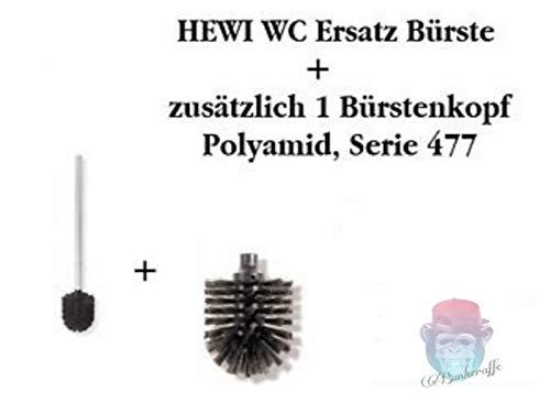 bunkeraffe HEWI Ersatzbürste mit Stiel Farbe Tiefschwarz WC Bürste + 1 Ersatzbürstenkopf