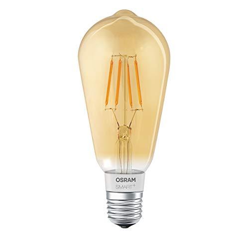 Osram Smart + Filament Edison Bombilla inteligente Bluetooth - Iluminación inteligente (Bombilla inteligente, Bluetooth, E27, Blanco cálido, 2500 K, 600 lm)
