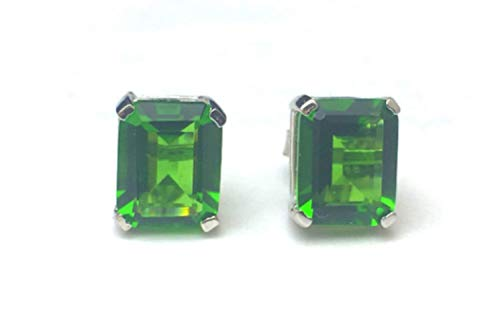 E40810P Rectangle (8x10mm) Mt St Helens Green Helenite May Birthstone Sterling Silver Studs Earrings (Blue)