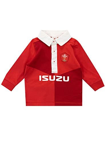 WRU Camiseta de Manga Larga para Niños Bebés Wales Rugby Rojo 6-9 Meses