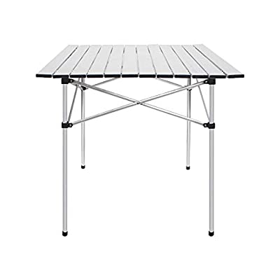 "Deanurs Folding Tables Camping Roll Up Aluminum Portable Square Table for Outdoor Hiking Picnic,28"" x 28"" w/Carry Bag,Silver"