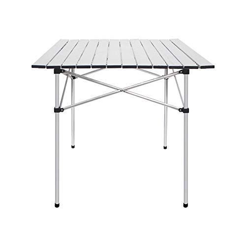 Deanurs Folding Tables Camping Roll Up Aluminum Portable Square Table for Outdoor Hiking Picnic,28' x 28' w/Carry Bag,Silver