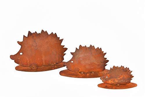 Rostikal | Herbstdeko Igel Familie | Edelrost Metall für Garten und Wohn Dekoration | 3er Set