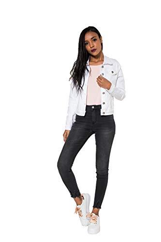 Crazy Age Damen Jeansjacke Blazer Übergangsjacke Sommer Jacke (S, Weiß(212))
