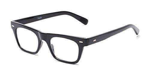 Readers.com Reading Glasses: The Madden Reader, Plastic Retro Square Style for Men and Women - Black, 2.00