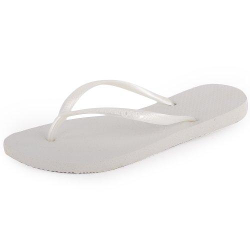 Havaianas Slim Chanclas Mujer, Blanco (White 0001), 39/40 EU