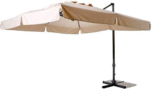 Mediawave Store - Sombrilla fubuca mod. Venezia con brazo, cuadrado 3 x 3 m, color crudo con palo lateral, para exterior, bar, jardín y decoración de piscina, plegable, estructura de aluminio