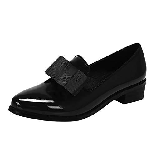 ღLILICATღ Zapatos de Charol de Mujer Borla de Moda Impermeable Color sólido Puntiagudo de Nudo de Mariposa en Punta Zapatos Individuales Ocasionales Mocasines de Fondo Grueso