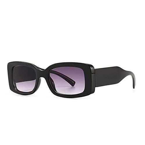 Popular Moda Rectángulo Color Color Color Mujer Gafas De Sol Vintage Hombres Gradado Gafas De Sol Sombras UV400 Geeignet Für Straßenaufnahmen Im Freien-Gris Negro