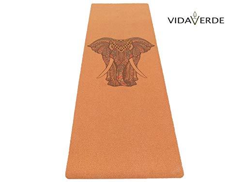 Vidaverde - Esterilla de yoga y fitness (corcho y caucho natural, incluye correa, antideslizante, respetuoso con el medio ambiente y no tóxico)