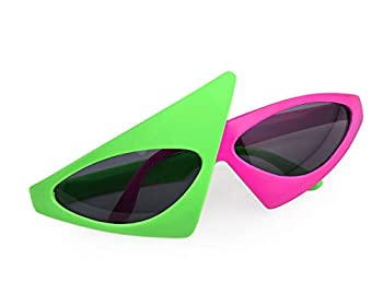 Asymmetric Sunglasses - green and pink