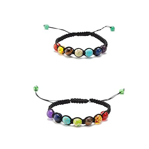 Pulsera de cristal natural,siete colores Rainbow Yoga Pulsera de siete chakras Pulsera Cuerda trenzada Piedra natural Cuentas de yoga Pulsera Bangle-AB