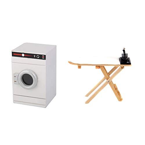 T TOOYFUL Niedlich Maßstab 1:12 Puppenhaus Miniatur Bügeleisen Mit Bügelbrett Set+12.01 Puppenhaus Miniatur Waschmaschine Weiß