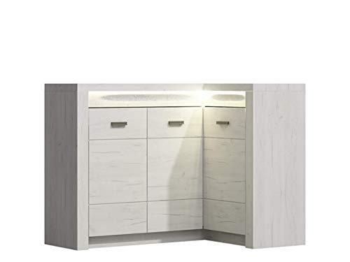 KRYSPOL Eckkommode Indiana I15 Kommode, Anrichte, Mehrzweckschrank, Farbasuwahl, Modern Design (Kraft Weiß, Seite - rechts (ohne Beleuchtung))