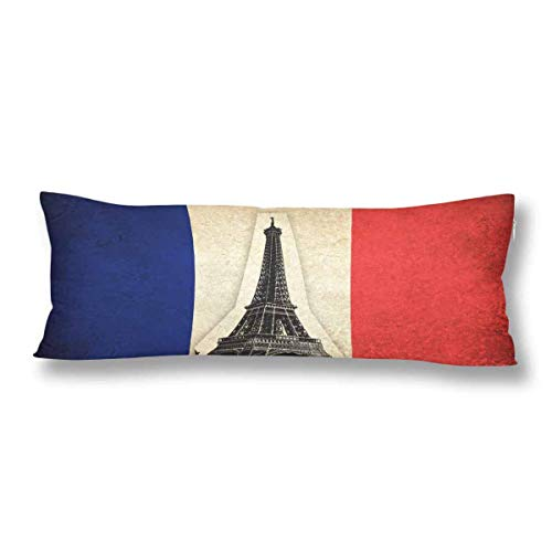 CiCiDi Body Pillow Case 5ft(50cm X 150cm) France French Country Grunge Flag Eiffel Tower Soft Cotton Machine Washable with Zippers Maternity/Pregnancy Pillow Cover
