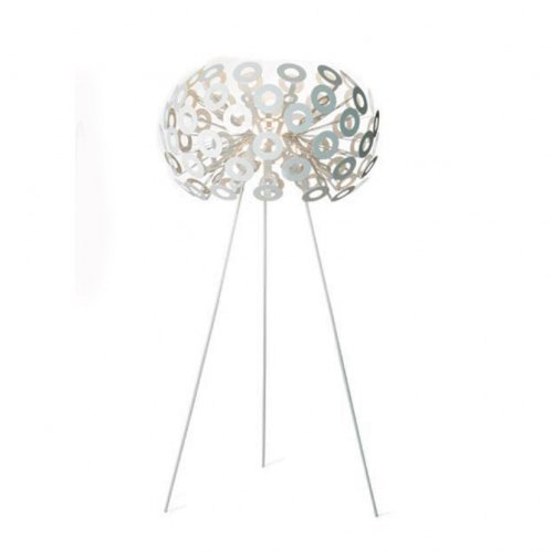 Dandelion F staande lamp, wit staal