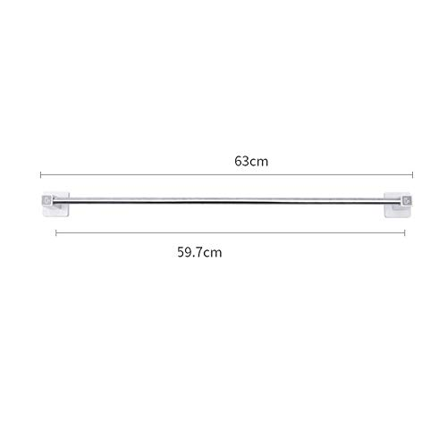 TTms Toalla de Toalla Barra de Toalla Baño sin Tapiz Cuarto de Acero Inoxidable Toalla de Toalla Ventosa Copa de succión Colgando Baño Un Solo Polo 63 cm (Color : Single Pole 63cm)