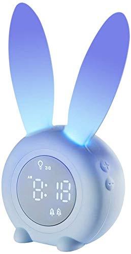 子ども用 目覚まし時計 子供 アラーム時計 女の子 男の子 寝室 ナイトライト キッズ 6種のアラーム音 スヌーズ/タイマー機能 マグネット内蔵 2000mAh 充電式 漫画電子時計 置き時計 かわいい目覚まし時計 (ブルー)