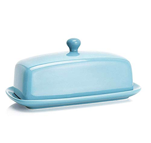 Sweese 307.102 Porcelain Butter Dish with Lid, Perfect for East West Coast Butter, Turquoise