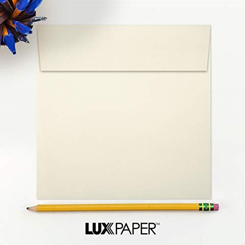 LUX Paper Square Invitation Envelopes for 6 1/4 x 6 1/4 Cards in 70 lb. Natural, Printable Envelopes for Invitations, with Peel & Press Seal, 50 Pack, Envelope Size 6 1/2 x 6 1/2 (Off-White) Photo #4