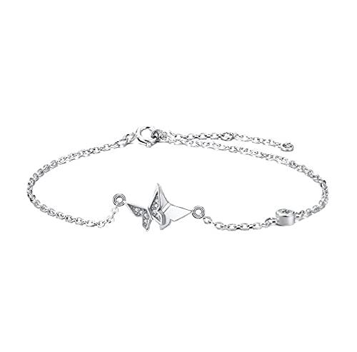 Pulsera ajustable de plata de ley S925 con diamantes y mariposa, para mujer