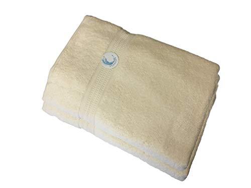Cazsplash Lot de 2 serviettes de bain en coton bio 650 g/m² Crème 90 x 170 cm