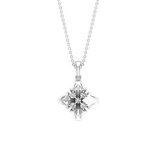 Art Deco 1/4 CT Runde zertifizierte Diamant Cluster Blume Anhänger, Vintage Frauen Charm Blumen-Anhänger, Geburtstag Jahrestag Tropfenkette Anhänger,18K Weißes Gold Ohne Kette