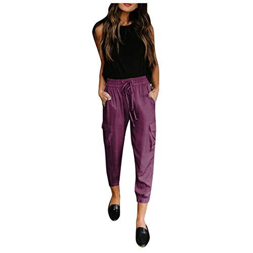Pantalones de mujer elegantes de cintura alta, para tiempo libre, 9/10, pantalones de lápiz, informales, con bolsillos, pantalones largos de deporte, pantalones de yoga morado S