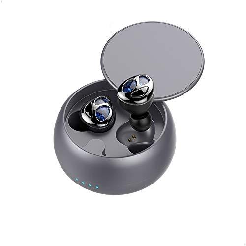 Cuffie Bluetooth senza fili V5.0 Ear Phones Audio 3D Waterproof Deep Bass Riduttore di rumore Cuffie Sport per Smartphone, Tablet, Giochi video PC Film + Charging Box Art Tech Lab