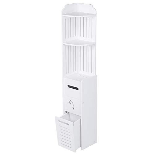 Badkommode mit 5 Etagen, Badschrank Badezimmerschrank Badregal, Aufbewahrung für Badezimmer aus WPC-Holz-Kunststoff-Platte, BPA-frei und Formaldehyd-frei