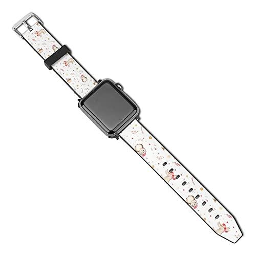 La última correa de reloj de estilo compatible con Apple Watch Band 38 mm 40 mm Correa de repuesto para iWatch Series 5/4/3/2/1, acuarela mágica vacaciones bosques animales ciervos y búho