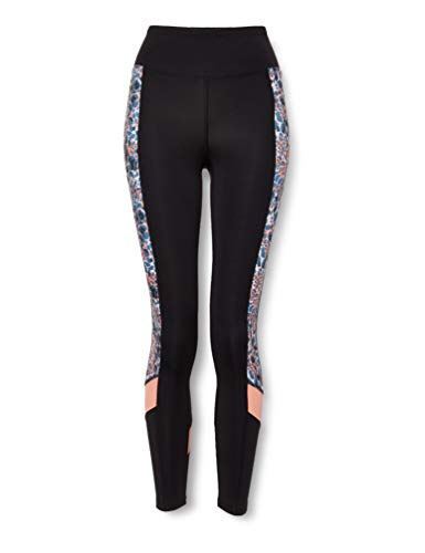 Amazon-Marke: AURIQUE Damen Sport Leggings Printed Side Panel, Schwarz (Coral Animal Print), 40, Label:L