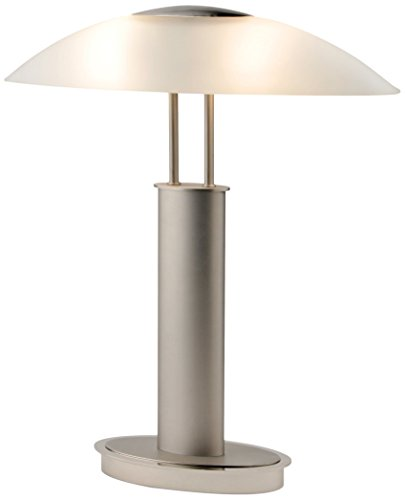 Artiva USA LED9476 Avalon Plus Modern 2-Tone Satin Nickel LED Touch Table Lamp with Oval Frosted Glass Shade, 18.5', Brushed Steel
