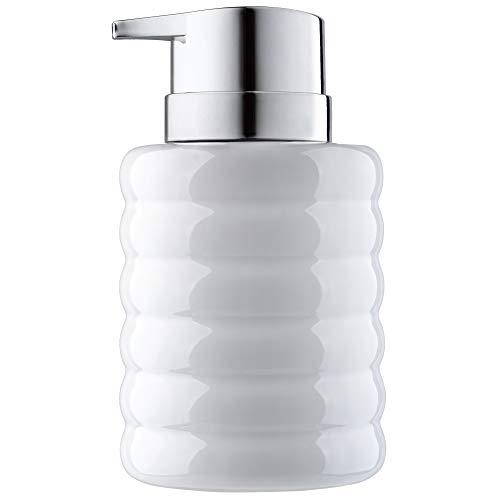KADAX Seifenspender aus Keramik, nachfüllbarer Seifendosierer, Flüssigseifen-Spender mit Pumpe aus Kunststoff, Lotionspender für Bad, 8,5 x 8,5 x 13,5 cm, Spülmittel-Spender (weiß)