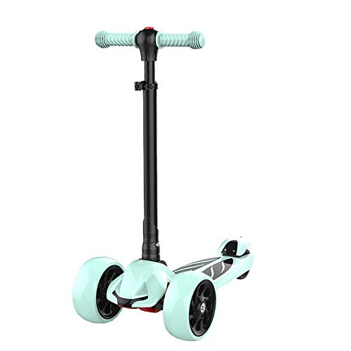PLLP Outdoor Sports Scooter Kick,Folding for Toddlers, Shock-Absorbing Kick with Adjustable Handlebar Lighted Pu Wheel, 220 Lbs Capacity, Best Gift for Kids Adult Child Toy Balance Car Mini,Green