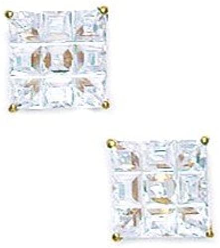 Or jaune 14 voitureats - 7 x 7 mm - 9 SegHommest zircone voitureré-bijouxWeb Boucles d'oreille Paniers
